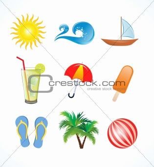 abstract summer icon set