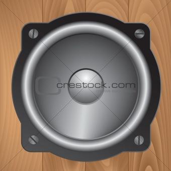 Audio speaker on wooden background