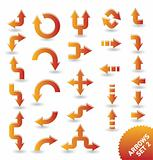set of orange vector arrow icons