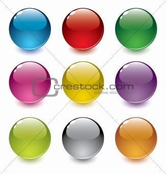 set of shiny realistic vector spheres