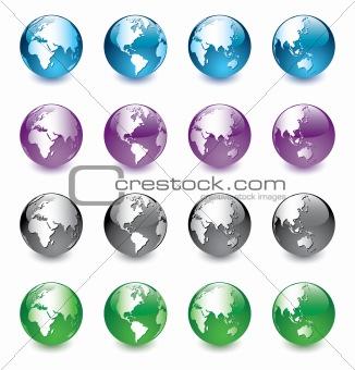 Color vector globes of the world