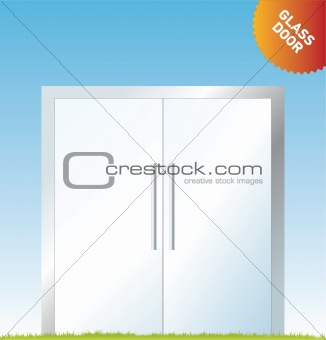 Vector outdoor advertising: a glass door