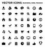 black vector business web finance icons