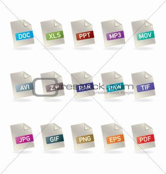 Vector file formats icon set