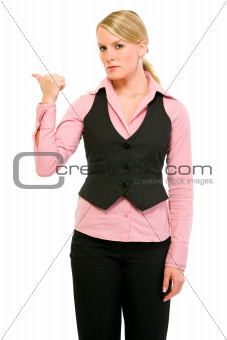 Angry business woman showing get out gesture