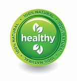 Vector Green Healthy 100% Natural label/button/sticker