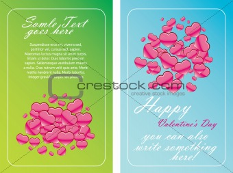 Valentine Day cards with hearts - vector illustration