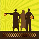 Vector composition of three basketball players