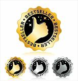 "Vector set of ""BESTSELLER"" labels / seals / signs."