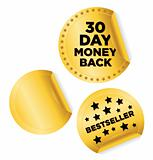 "Vector set of ""Bestseller"" and ""Money Back"" stickers in gold"