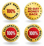 Vector  labels / seals / signs in gold and red for retail