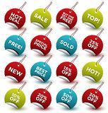 set of beautiful vector starburst round labels / stickers /tags for retail and other use