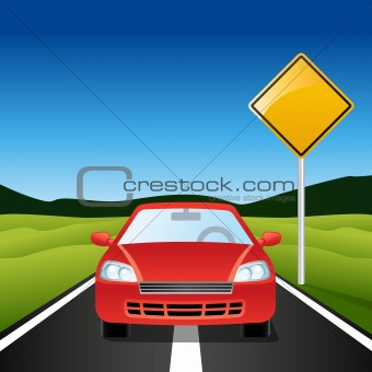 Car on Highway with blank road sign