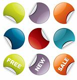 Set of vector round stickers for retail and other use