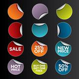 Vector set of the round stickers for retail and other use