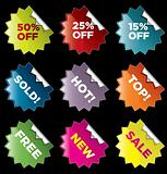 Vector star burst stickers for retail and other use