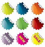 Vector set of star burst stickers  for retail and other use