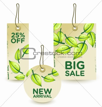 Vector illustration of green sale tags set
