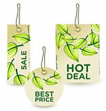 Vector illustration of GREEN SALE tags/labels  set