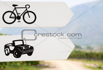 Cars and Bikes Way Sign