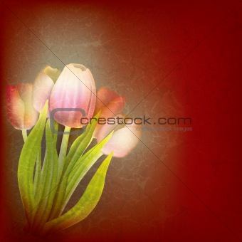 abstract floral illustration with red tulips
