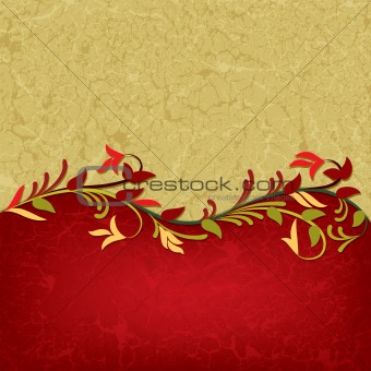 abstract grunge floral ornament on red