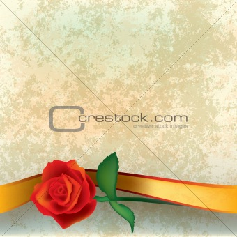 abstract grunge illustration with rose and ribbon