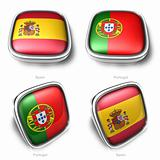 Spain and Portugal 3d flag button