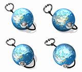 3d blue globe and stethoscope