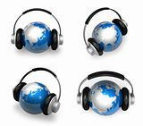 3d blue globe and headphone