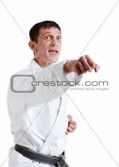 Karate. Man in a kimono