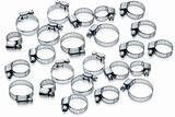 Metal hose clamps of different sizes