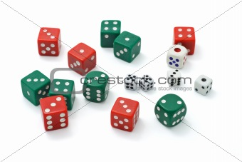 Assortment of colorful dice