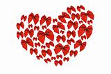 Red decorative bows in heart shape