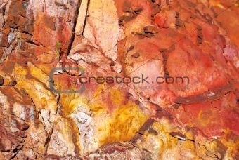 Texture of wall at iron mine.