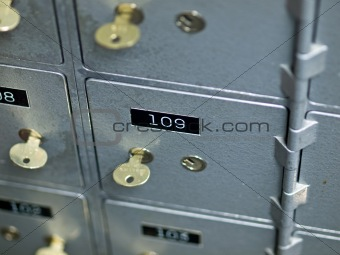 Old Gray and Numbered Safety Deposit Boxes