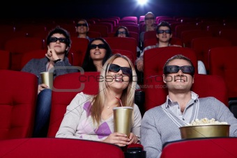 Young people in 3D cinema
