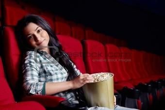 Beautiful girl at the cinema