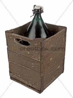 A wooden case of antique bottle
