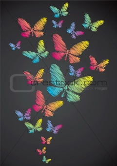 Butterflies drawn in chalk