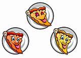 Cartoon pizza symbols