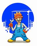 Funny smiling builder