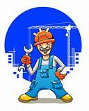 Funny smiling builder