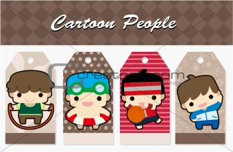 cartoon sport people card