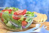 Light Summer Salad in Glass Bowl