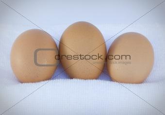 Close up three eggs on white towel