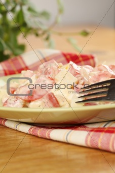 Tomato salad with cheese and eggs