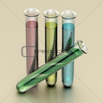Four test tubes