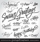 seasonal &amp; holiday greetings, hand lettering set (vector)