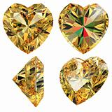 Yellow jewellery heart shape isolated